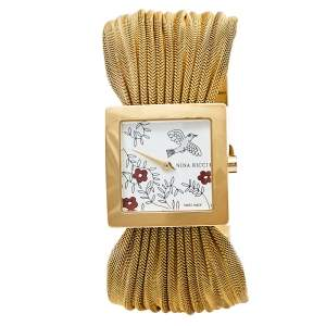 Nina Ricci Silver Gold Plated Stainless Steel NO19.42 Women's Wristwatch 24 mm
