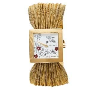 ساعة يد نسائية نينا ريتشي إن أو19.42 ستانلس ستيل مطلي بالذهب فضية 24 مم