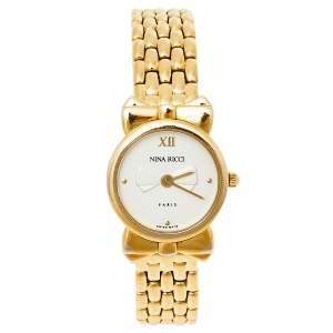 Nina Ricci Silver Gold Plated Stainless Steel D953 Women's Wristwatch 20 mm