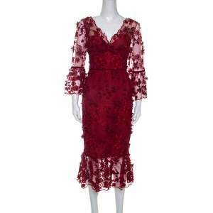 Notte by Marchesa Burgundy 3D Floral Lace Midi Dress M