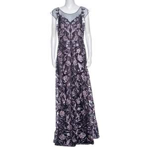 Notte by Marchesa Navy Blue And Purple Rose Embroidered Gown L