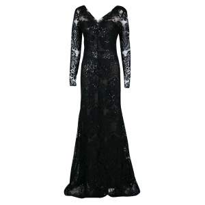 Notte By Marchesa Black Floral Applique Detail Embellished Embroidered Tulle Gown M