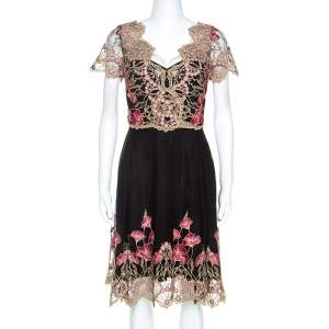 Notte By Marchesa Black and Gold Floral Lace Applique Dress M