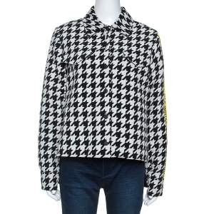 Off-White Monochrome Wool Blend Houndstooth Jacket M