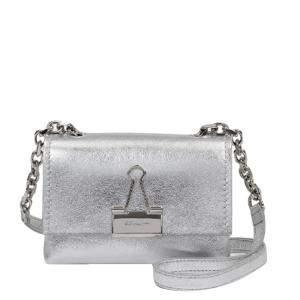 Off White Silver Metallic Leather Laminate Soft Small Bag