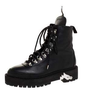 Off-White Black Leather Hiking Boots Size 38