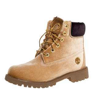 Off White x Timberland Brown Velvet Icon 6 Inch Premium Boots Size 41