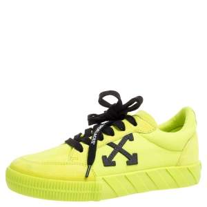 Off White Vulcanized Yellow Suede Leather And Canvas Low Top Sneakers Size 36