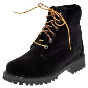 Off White x Timberland Black Velvet Ankle Boots Size 35.5