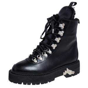 Off White c/o Virgil Abloh Black Leather Hiking Ankle Boots Size 38