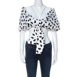 Off-White Monochrome Pois Print Oversize Off The Shoulder Crop Top M