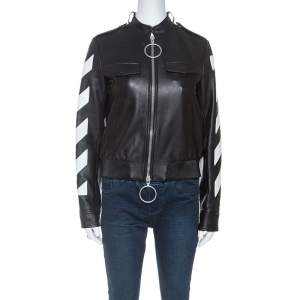 Off White Black Leather Contrast Detail Zip Front Jacket S