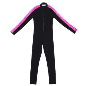 Off-White Black Ribbed Stretch Nylon Logo Band Detail Jumpsuit XS