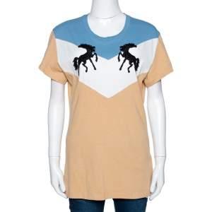 Off-White Tricolor Cotton Twisting Horses T Shirt L
