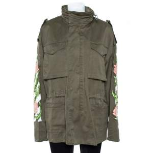 Off-White Olive Green Cotton Twill Tulip Embroidered Parka M