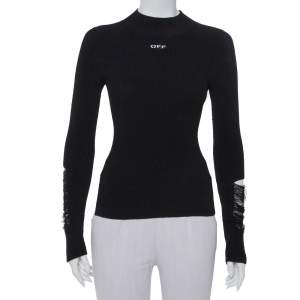 Off-White Black Knit Frayed Sleeve Detail High Neck Jumper XS