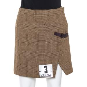 Off-White Brown Checkered Wool Faux Wrap Mini Skirt S