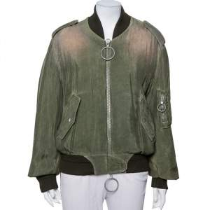 Off-White Green Cupro Washed Out Effect Zipper Front Bomber Jacket M