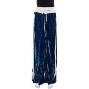 Off-White Navy Blue Velvet Contrast Trim Wide Leg Track Pants S
