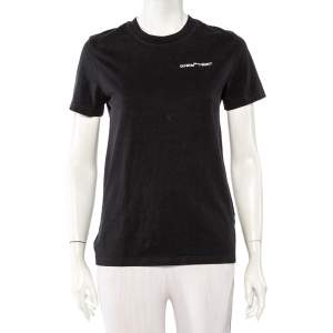 Off-White Black Logo Embroidered Cotton T-Shirt XS