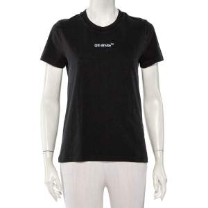 Off-White Black Cotton Logo Printed & Embroidered T-Shirt XS