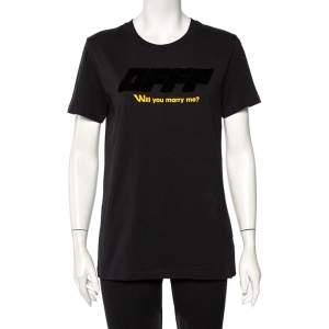 Off-White Black Cotton Logo Embossed Printed Cotton Crewneck T-Shirt M