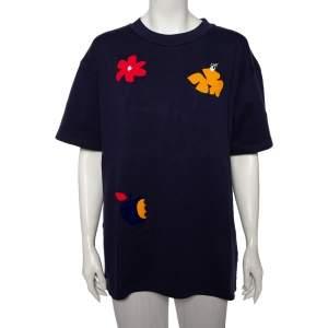 Off-White Navy Blue Flocked Cotton Knit Oversized Crewneck T-Shirt M