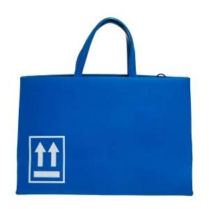 Off-White Blue Leather Medium Box Tote