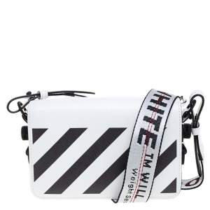 Off-White White/Black Diag Print Leather Binder Clip Crossbody Bag