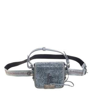 Off-White Ash Blue Crystal Embellishment Leather and Suede Baby Binder Flap Bag