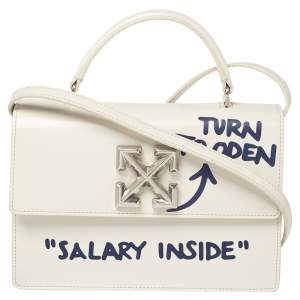 """OFF-WHITE White Leather 1.4 Jitney Quote Bag """"SALARY INSIDE"""" Top  Handle Bag"""