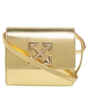 Off White Metallic Gold Leather Jitney 0.7 Shoulder Bag