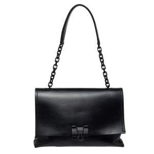 Off-White Black Leather Binder Clip Shouder Bag