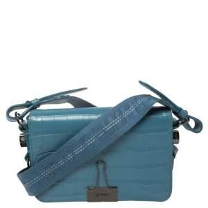 Off-White Blue Crocodile Embossed Leather Binder Clip Crossbody Bag