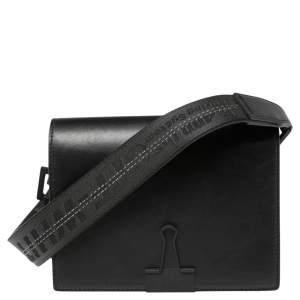 Off-White Black Leather Binder Clip Crossbody Bag