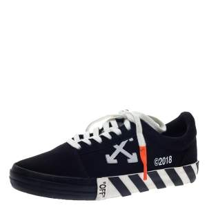 Off-White Black/White Canvas Vulcanized Striped Low Top Sneakers Size 40