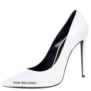 Off-White White Leather Pointed Toe Pumps Size 39