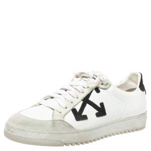 Off-White Whte/Black Leather Carryover Low Top Sneakers Size 38
