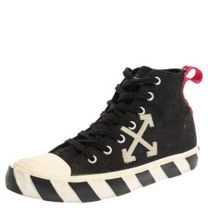 Off White Black/White Canvas High-top Arrow Sneakers Size 43