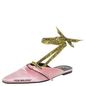 Off-White Pink/Yellow Satin Flat Sandals Size 39