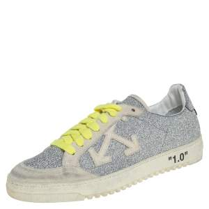 Off-White c/o Virgil Abloh Arrow 2.0 Silver Glitter Leather And Suede Distressed Lace Up Sneakers Size 38