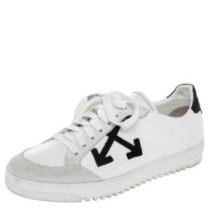 Off-White White/Black Leather And Suede 2.0 Low Top Sneakers Size 38