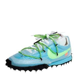 Off-White x Nike Vivid Sky Blue Nylon And Suede Waffle Racer Low Top Sneakers Size 40