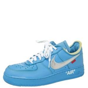Off-White x Nike Blue Leather MCA Air Force 1 Sneakers Size 43
