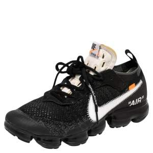 Nike x Off-White Black Knit Fabric And Suede Air Vapormax Sneakers Size 42