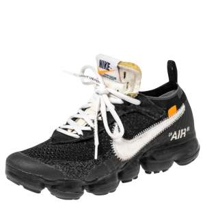 Nike x Off-White Black Knit Fabric And Suede Air Vapormax Sneakers Size 38