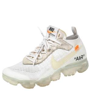 Nike x Off-White White Knit Fabric And Suede Air Vapormax Sneakers Size 38.5