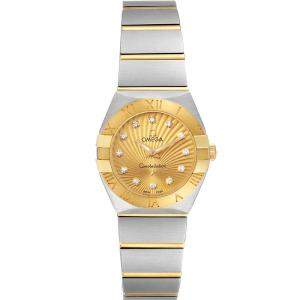 Omega Champagne Diamonds 18k Yellow Gold And Stainless Steel Constellation 123.20.24.60.58.001 Women's Wristwatch 24 MM