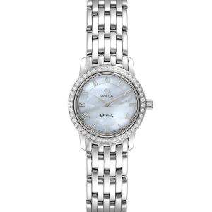 Omega MOP Diamonds Stainless Steel DeVille 4575.71.00 Women's Wristwatch 22 MM