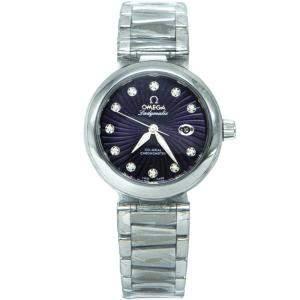 Omega Purple Stainless Steel Deville Ladymatic Diamond Women's Watch 34MM